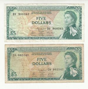 East Caribbean States 2x5 dollars 1965 circ. QEII @ low start