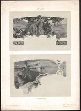 1900 Lithographie art nouveau Giuseppe Palanti diplômes