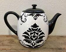 "Tea Pot DAMASK Certified International Black White Kettle 9"" long 6.5"" Tall NEW"