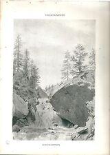 1880 BOIS DE GRETEUIL VALSAVARENCHE vedute Valle d'Aosta litografia alpinismo