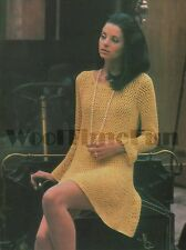 Vintage Crochet Pattern. Lady's Dress/Tunic Long Sleeves. 4ply and DK versions
