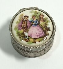 Vintage Vanity Pill Box Silver Trinket Circle Container Victorian Scene Italy