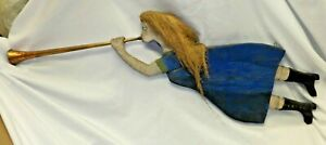 Vintage Folk Art Wooden Hand Carved Lady with Rope Hair playing a Trumpet