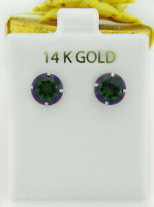 MYSTIC TOPAZ  3.30 Cts STUD EARRINGS 14K WHITE GOLD * New With Tag *