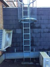 More details for roof access ladder with lockable security safety cage and galvanised handrails