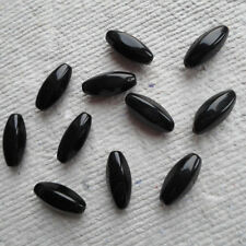 CZECH GLASS BEADS ~ Black Torpedo  ~ Large Rice ~ Pack 20