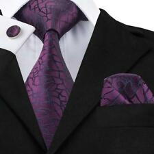 USA Classic New Purple Silk Necktie Set Wine Red Jacquard Men's Tie Wedding 1004