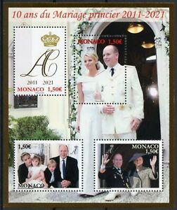 Monaco Royalty Stamps 2021 MNH Prince Albert II & Charlene Royal Marriage 4v M/S