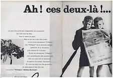 PUBLICITE ADVERTISING 115  1961  LE Collegien chaussettes enfants (2p) jumeaux