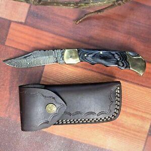 MH KNIVES RARE CUSTOM DAMASCUS STEEL FOLDING/POCKET KNIFE BACK LINER LOCK MH-87H