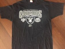 Reebok Raiders T-Shirt 2002 AFC Conference Champion Silver Black Cotton Size L