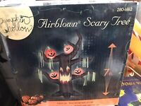 New Gemmy 7' Halloween Scary Tree With Pumpkins Lighted Airblown Inflatable