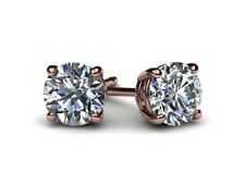 5 CTS D/SI1 NATURAL ROUND CUT DIAMOND STUD EARRINGS 14KT ROSE GOLD ENHANCED