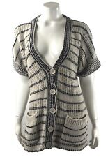 Forever 21 Womens Cardigan Sweater Size Medium Gray Blue Striped Front Pockets