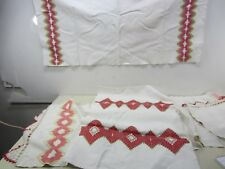 3 Vintage Embroidered Linen Table Runners