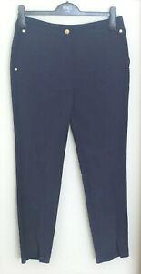 Ex M&S Per Una Sizes 10L 12S 12R 14S 16R Navy Split Hem Trousers