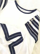 NEW Size M Navy White Gold Nautical Polyester Sexy Lingerie Night Shirt Nightie