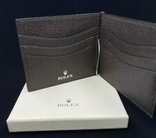 Rolex Watch Brown Leather Bi-Fold Wallet - New Rare Authentic Rolex Accessory