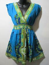 Dress Fits M L XL Blue Hipster Hippy Dashiki Print Mini Dress One Size NWT 827