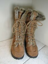 Skechers Lt Brown Leather Fuzzy Lined Tie Front Boots Women's Size 8 EU 38