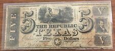 1839 Republic of Texas 5 dollar obsolete paper currency  Starr Lamar signatures
