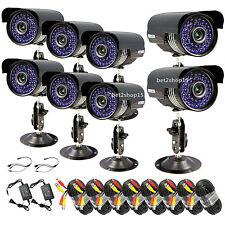8 X 1200Tvl Cctv Surveillance Security Day Night Color Cameras W/ 60ft Cables Fh