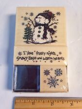 PSX SK624 Snow Bear snowman I Love Snowy Days snowflakes Rubber Stamp Set RARE