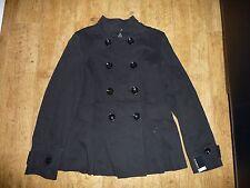 Women's Black Cotton Button Up Coat UK 12