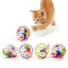 New listing Colorful Cat Teaser Toys Plastic Artificial Stick Feather Wand Bell Mouse cage