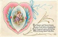 Valentine~Purple Gossamer Cupid Flower Girl~Pink Blue Heart~Mandolin~Nash V-53