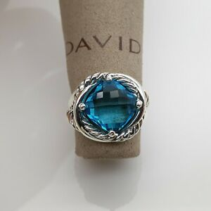 David Yurman 11mm Infinity Ring with Blue Topaz size 8 Sterling Silver 925