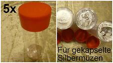 5x Münzkapsel-Tube Box für gekapselte Silbermünzen Unze Oz Münztube 2018 Ø 44,90
