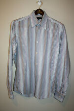 Mens TED BAKER Blue Striped Button Down Front Dress Shirt 4 / Large L 40