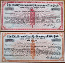 'Fidelity & Casualty Company of New York' 1911/14 Insurance Policy Certificates