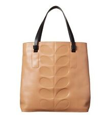 RRP £330 GENUINE ORLA KIELY FAWN EMBOSSED STEM WILLOW LEATHER TOTE BAG