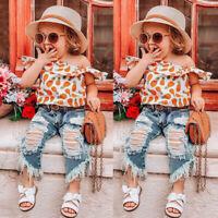 2PCS Toddler Kids Baby Girl Outfit Off Shoulder Ruffle Top+Jeans Denim Pants Set