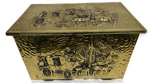 Vintage Embossed Brass Coal/Kindling Fireplace Box Made in England