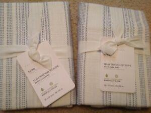 2 POTTERY BARN Hawthorne Stripe Shams EURO Size Potterybarn Sham white blue NEW