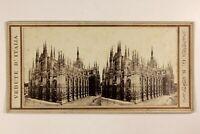 Italia Milan Dôme Cattedrale Foto Giorgio Sommer Stereo Vintage Albumina c1865