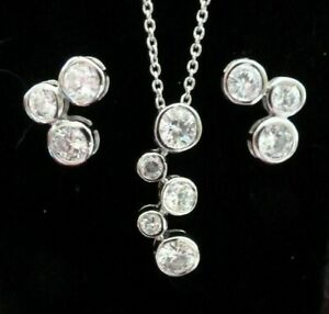 STERLING 925 Cubic Zirconia Bubble Necklace Pendant and Earring Set