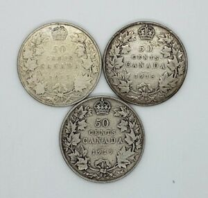 Canada 1917 1918 1919 Silver 50 Fifty Cents 3 Different Coin Lot
