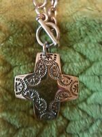 Vintage heavy 925 sterling silver cross on curb chain designer necklace Silpada