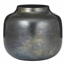 Amalfi Mondrian Metal Multipurpose Flower Plant Vase Oxidised Black 17x19cm