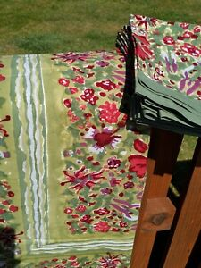 """Couleur Nature by Bruno Lamy Handmade Tablecloth & 10 Napkins Florals 71""""x128"""""""