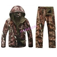 Mens Military Tactical Jacket Army Hunting Hooded Jungle Coat Pant Suits Outside
