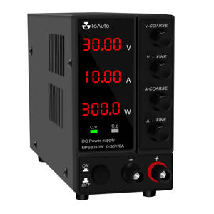 DC Power Supply Variable, 30V 10A  6A Adjustable Switching Regulated DC 3LED LAB