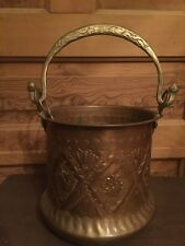 Vintage Ornate Middle Eastern Copper Cauldron with Brass Snake Bail Handle
