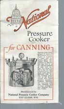 JA-027 - Vintage National Pressure Cooker Canner  Advertising Leaflet 1920's 30s