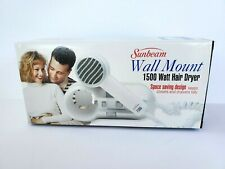 Sunbeam Wall Mount 1500 Watt Hair Dryer Vintage Model 1626-20 1996 New in Box