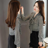 Spring Women Bow Tie Neck Puff Long Sleeve Houndstooth Chiffon Shirt Blouse Tops